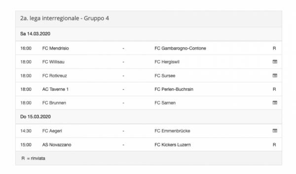 Clamoroso, in Seconda Inter rinviate solo le partite delle ticinesi!